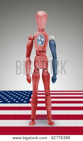 Wood Figure Mannequin With Us State Flag Bodypaint - Tennessee