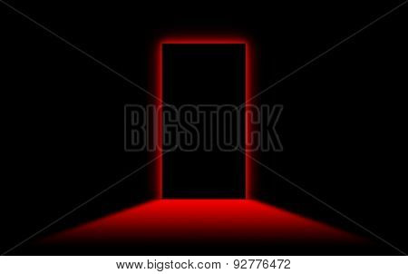 Black Door With Bright Neonlight At The Other Side