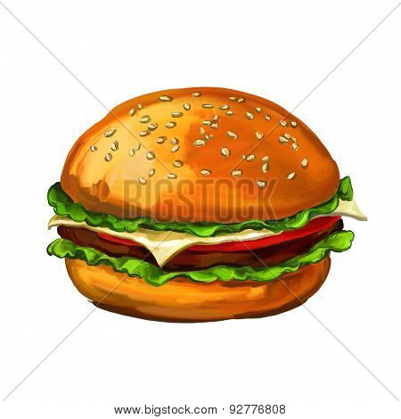 hamburger walnuts vector illustration  painted watercolor