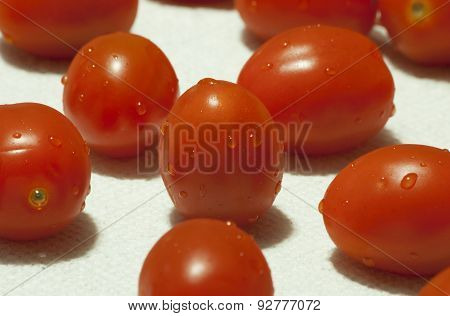 Cherry Tomatoes On A Paper Towel