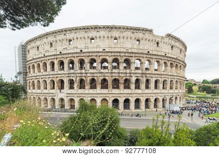Side View Of The Colosseum In Rome, Italy