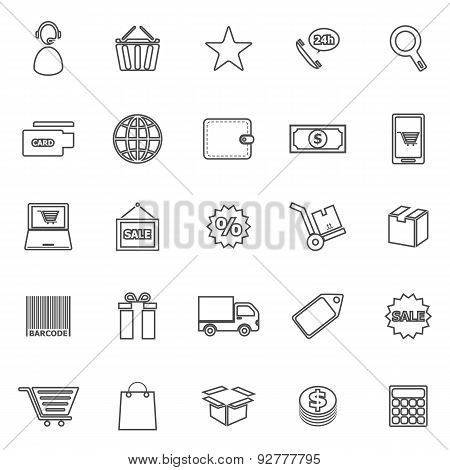 E-commerce Line Icons On White Background