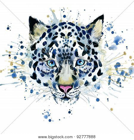 T-shirt graphics/cute snow leopard, illustration watercolor