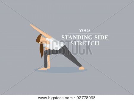 Yoga Asana Standing Side Stretch Pose Vector Illustration