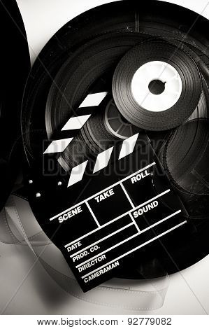 Movie Clapper Board On 35 Mm Movie Reels