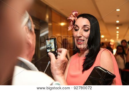 Rossy de Palma, Spanish actress  with fans during the 68th annual Cannes Film Festival on May 13, 2015 in Cannes, France.