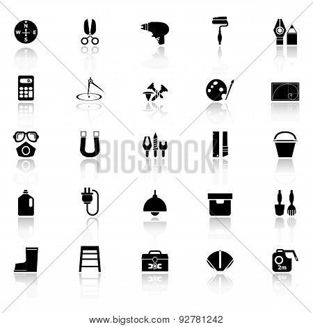 Diy Tool Icons With Reflect On White Background