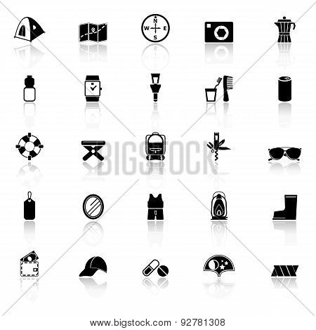 Camping Necessary Icons With Reflect On White Background