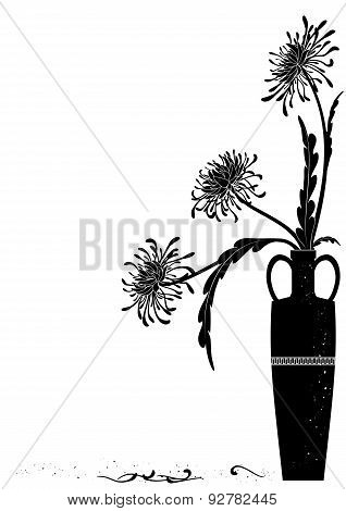 Meander  Vase With Black Golden-daisy