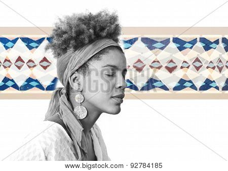 Young Afro American Woman Profile With Closed Eyes - Studio Shot -  Mosaic Background