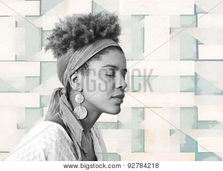 Young Afro American Woman Profile With Closed Eyes - Studio Shot -  Tiled Background