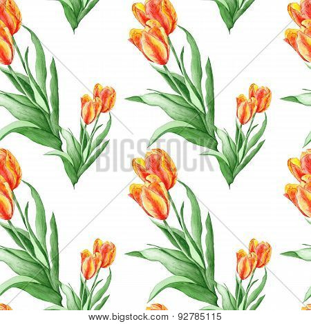 Classical Wallpaper Pattern with Red Tulips