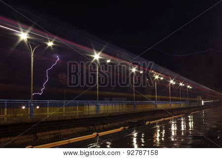 Thunderstorm Above Outdoor Subway