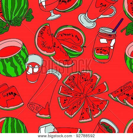 Watermelon. Vector seamless illustration