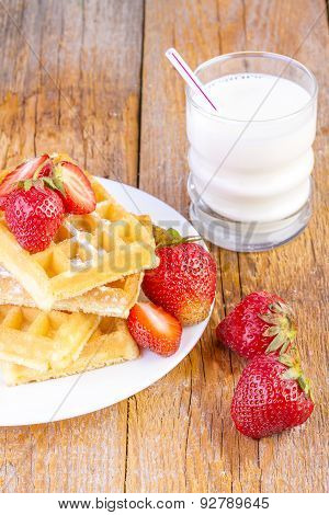 Homemade Waffles with Strawberry Jam