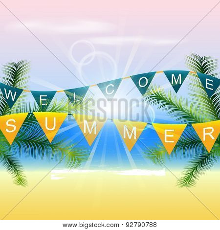 Summer background with palm trees and sunlight on the coast