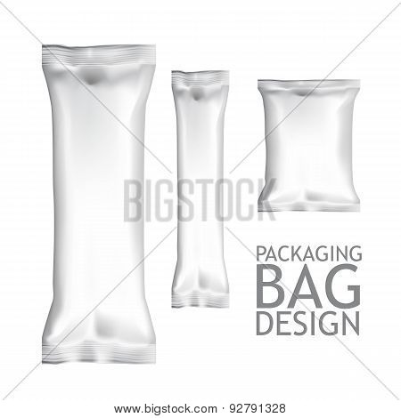 Set Blank Foil Food Snack Packages