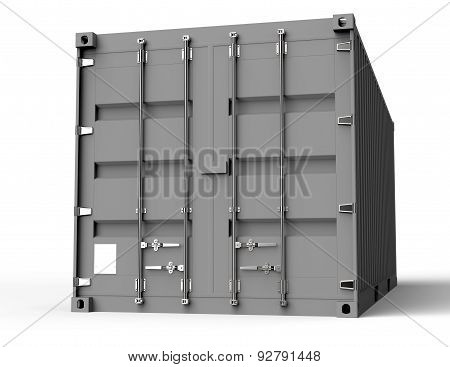 Grey Container Isolated On A White Back Ground