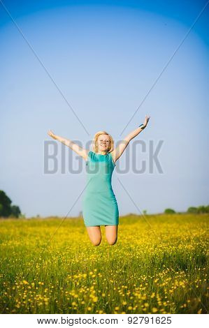 Young  Business Woman Celebrating Her Success Outside After Hard Day In Office.