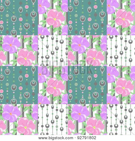 Patchwork Seamless Pattern Circles And Floral Background