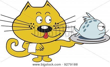 Orange cat with fish cartoon