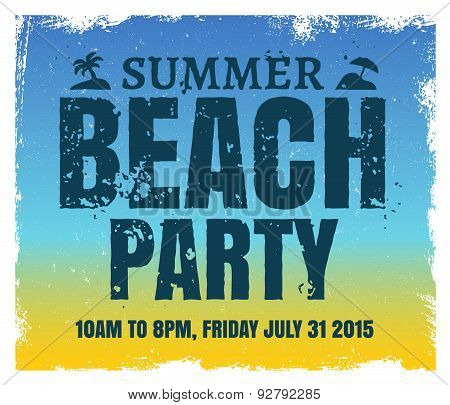Summer beach party poster with retro blue and yellow background