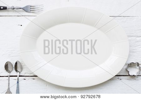 Ceramic Oval Dish, Fork And Spoons