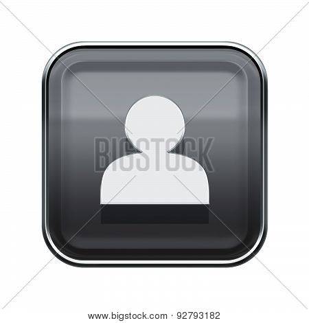 User Icon Glossy Grey, Isolated On White Background