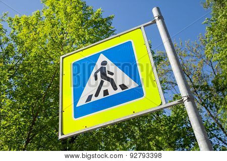 Pedestrian Crossing. Road Sign In Summer City