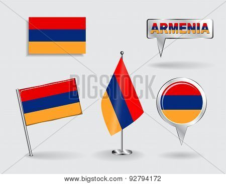 Set of Armenian pin, icon and map pointer flags. Vector
