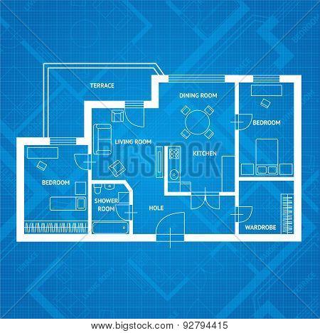 Vector plan blue print.  Flat Design