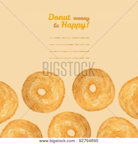 'Donut worry be Happy' postcard. Donut illustration. Colored Pencils Drawing.