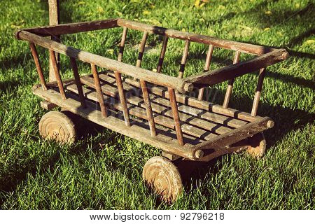 Old Wooden Cart In The Garden