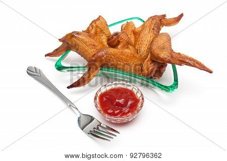 Delicious Smoked Chicken Wings And Ketchup On A White Background