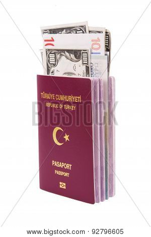 Passport With Banknotes