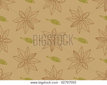 Anise with cardamom seamless pattern