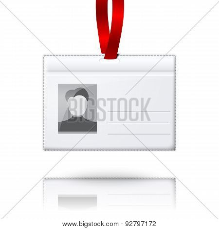 Blank vector vertical badge holder with place for photo and text. With bright light lace.