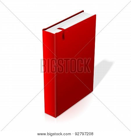 Realistic standing red blank hardcover book with bookmark.
