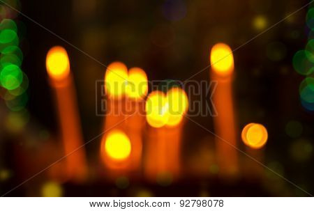 Abstract Circular Bokeh Background Of Candles Lights