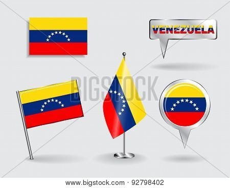 Set of Venezuelan pin, icon and map pointer flags. Vector