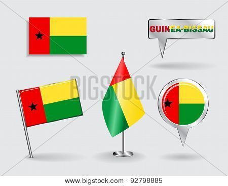 Set of Guinea-Bissau pin, icon and map pointer flags. Vector
