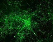 foto of cybernetics  - Abstract digital background with green cybernetic particles - JPG