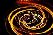 image of fiery  - Beautiful bstract fiery circle on a black background - JPG