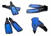 stock photo of fin  - Set of blue swim fins for diving isolated on white background - JPG