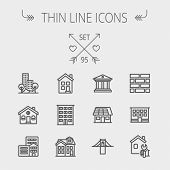 Construction thin line icon set for web and mobile. Set includes - museum, house with solar panel, b poster