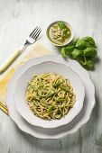 image of pesto sauce  - spaghetti with green beans and pesto sauce - JPG