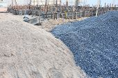 pic of sand gravel  - piles gravel and sand for construction - JPG