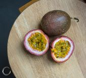 picture of passion fruit  - Passion fruit on the cutting board  - JPG