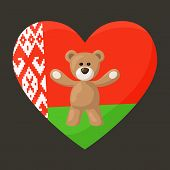 stock photo of visitation  - Teddy Bears with heart with flag of Belarus - JPG