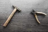 picture of wood craft  - tools on wood panel background hammer vintage - JPG